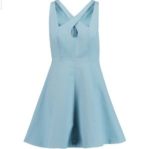 Light blue halston heritage mini dress with cutout